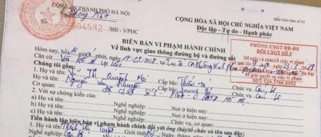 Biên bản xử lý vi phạm đối với bà Trịnh Thị Tuyết