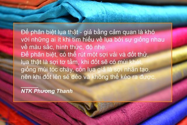 Xem thêm: NTK Phương Thanh tiết lộ cách phân biệt lụa thật, giả bằng việc… đốt vải