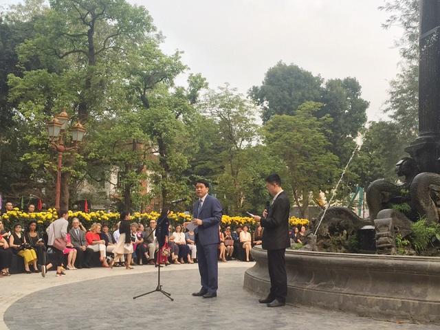 Chủ tịch UBND thành phố Hà Nội Nguyễn Đức Chung phát biểu khai mạc sự kiện. (Ảnh: Phương Nhung).