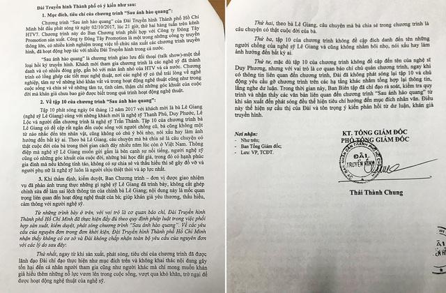 Nội dung phản hồi của HTV về đơn kiện của danh hài Duy Phương
