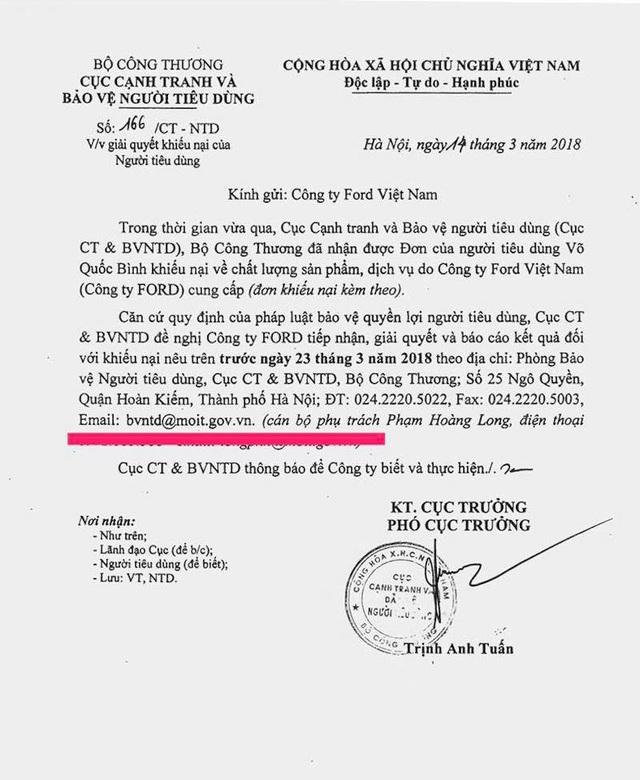 Văn bản do ông Trịnh Anh Tuấn, Phó Cục trưởng ký cho biết Bộ Công thương đã nhận được đơn của người tiêu dùng Võ Quốc Bình khiếu nại về chất lượng sản phẩm, dịch vụ do Ford Việt Nam cung cấp.