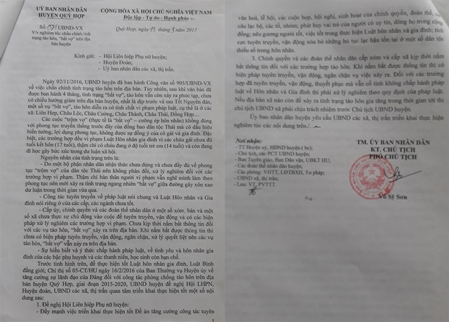 UBND huyện Quỳ Hợp đã ban hành nhiều công văn chấn chỉnh tình trạng trộm vợ, tảo hôn nhưng tình trạng trộm vợ ở đây vẫn được đánh giá là phức tạp