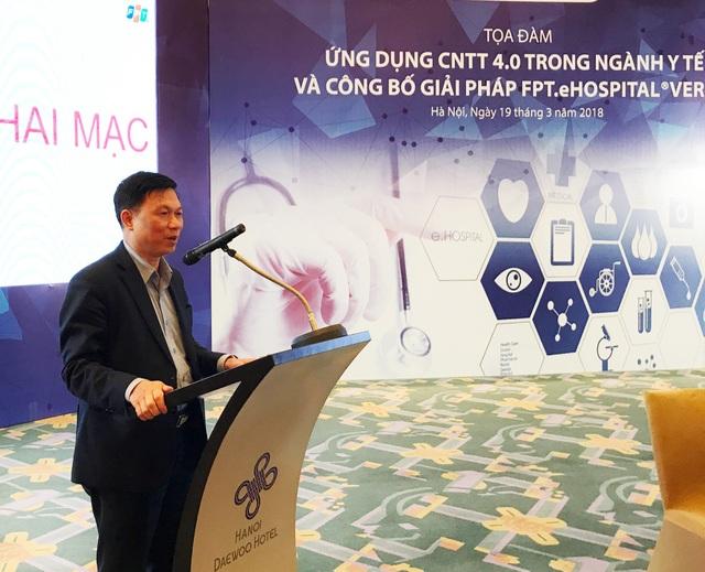 GSTS. Trần Quý Tường Cục trưởng Cục Ứng dụng CNTT, Bộ Y tế phát biểu tại tọa đàm Ứng dụng Công nghệ 4.0 vào công tác điều trị, khám chữa bệnh và Quản lý bệnh viện.