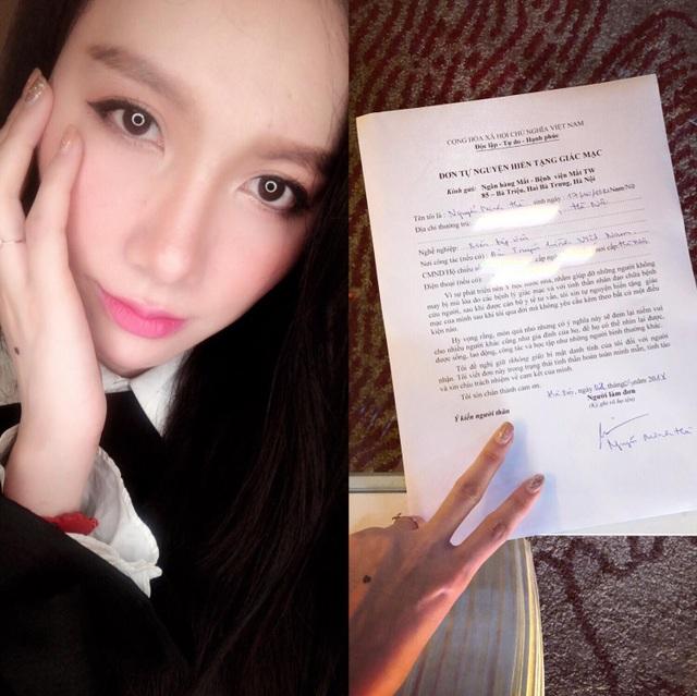 Minh Hà cũng chia sẻ đơn tự nguyến hiến tạng giác mạc cho Ngân hàng Mắt - Bệnh viện Mắt TW.