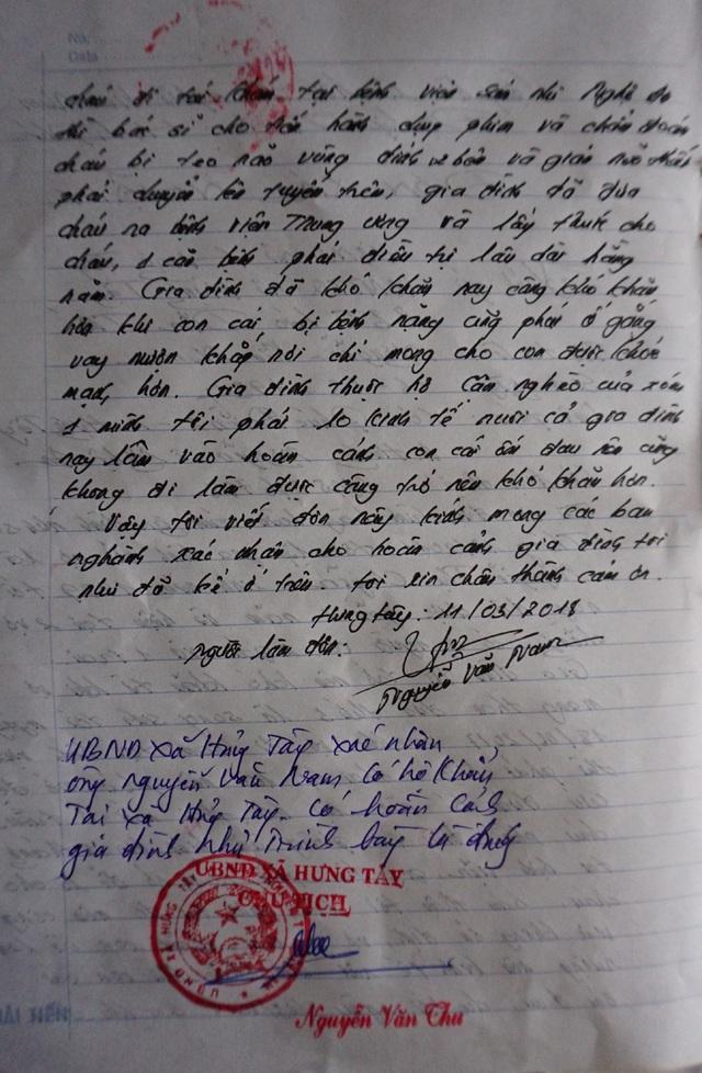 Xác nhận của UBND xã Hưng Tây (huyện Hưng Nguyên, Nghệ An) về hoàn cảnh của gia đình anh Nguyễn Văn Nam
