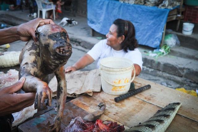 Khu chợ bày bán đủ mọi loại thịt thú rừng