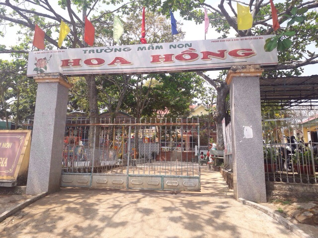 Trường Mầm non Hoa Hồng (huyện Đắk Mil, tỉnh Đắk Nông) nơi xảy ra vụ việc.