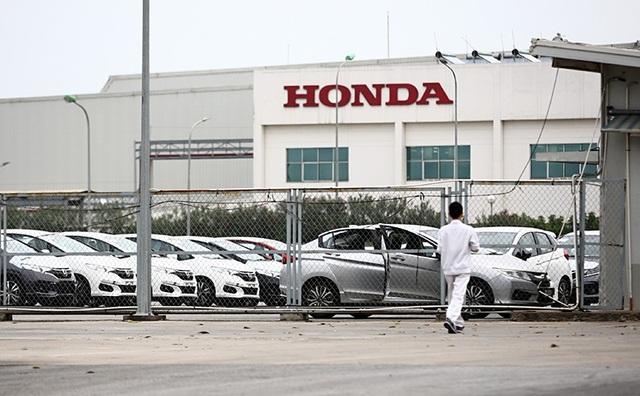 Lô xe của Honda cập cảng Đình Vũ hiện đang được bảo quản tại kho bãi trong nhà máy của Honda tại Vĩnh Phúc.