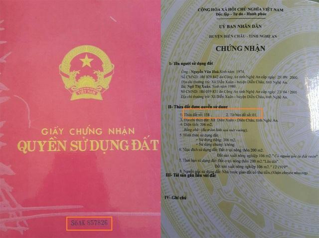 Giấy CNQSD đất được bà Xuân thế chấp cho chị Nhiên có số hiệu 857826, thửa 158, tờ bản đồ số 1, diện tích 306m2, trong khi đó những số liệu này lại thuộc 2 bìa đất khác nhau.