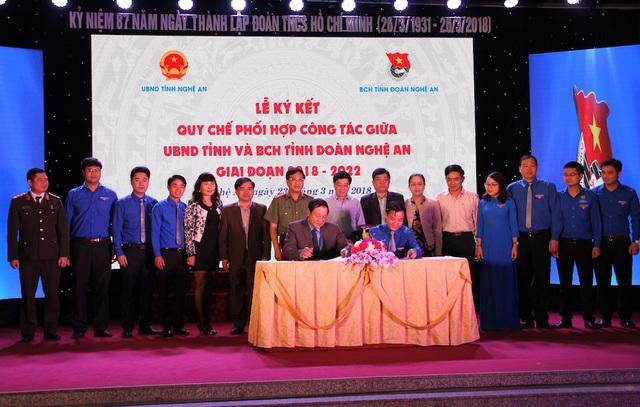 Ký kết quy chế phối hợp giữa UBND tỉnh và Tỉnh đoàn giai đoạn 2018 - 2022.