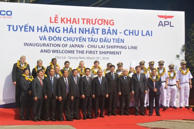 Thủ tướng Nguyễn Xuân Phúc tham dự lễ khai trương tuyến hàng hải Nhật Bản - Chu Lai trong sáng nay. (Ảnh: Hồng Vân)