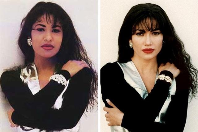 """Jennifer Lopez (phải) vào vai nữ ca sĩ trẻ tài năng người Mỹ bị ám sát năm 24 tuổi - Selena Quintanilla trong """"Selena"""" (1997)."""