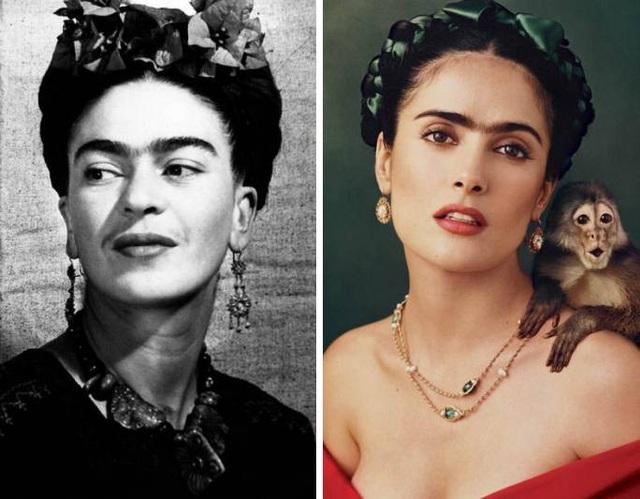 """Salma Hayek vào vai nữ họa sĩ người Mexico - Frida Kahlo trong """"Frida"""" (2002)."""