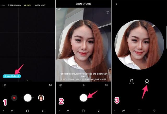 """Sau khi mở ứng dụng camera, bạn tìm tính năng AR Emoji, bấm chọn vào """"Create My Emoji"""" (đối với giao diện tiếng Anh)hoặc""""Tạo Emoji của bạn""""(trong giao diện tiếng Việt), và bắt đầu tạo nhân vật hoạt hình một cách dễ dàng. Tiếp theo, chỉ việc chụp ảnh khuôn mặt của bạn và chọn giới tính cho nhân vật mình muốn tạo."""