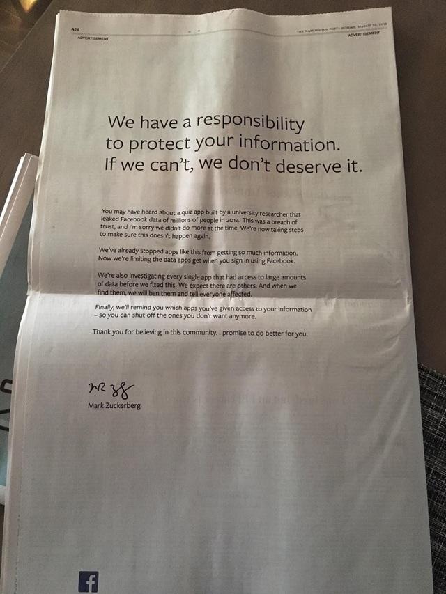 Tâm thư được đăng tải trên hàng loạt tờ báo lớn quốc tế, kèm chữ ký của CEO Mark Zuckerberg và logo Facebook.