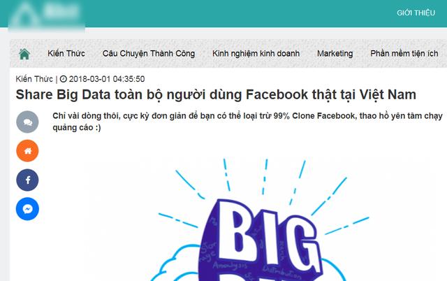 Chia sẻ toàn bộ dữ liệu người dùng Facebook tại Việt Nam.