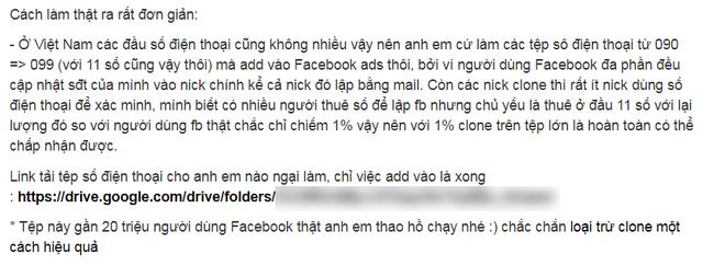 Bài chia sẻ khẳng định có chứa dữ liệu của gần 20 triệu người dùng Facebook thật tại Việt Nam.
