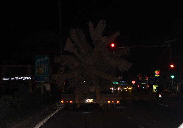 Chiếc xe quái thú khi chạy vào nội đô thị trấn Cẩm Xuyên (huyện Cẩm Xuyên), thị trấn Nghèn (huyện Can Lộc, tỉnh Hà Tĩnh).