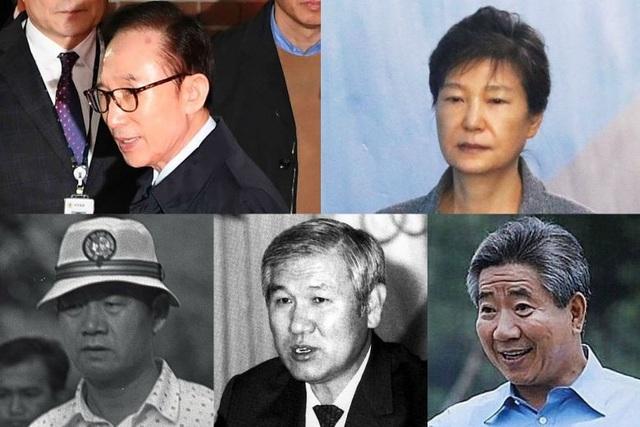 Từ trên xuống dưới và từ trái qua phải: Các cựu Tổng thống Hàn Quốc Lee Myung Bak (2008-2013), Park Geun Hye (2013-2017), Chun Doo Hwan (1980-1988), Roh Tae Woo (1988-1993), Roh Moo Hyun (2003-2008). (Ảnh: EPA-EFE)