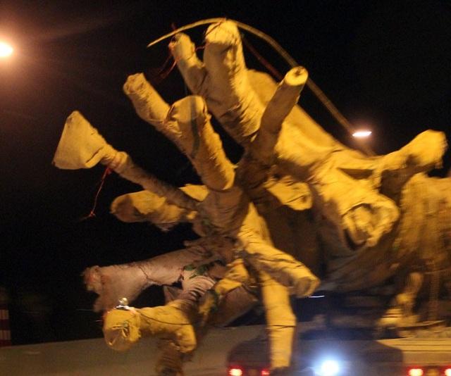 """Giật mình xe chở cây khủng như """"quái thú"""" băng băng trên quốc lộ 1 A - 3"""