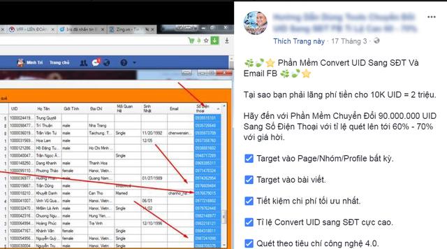 Phần mềm chuyển đổi từ UID sang SĐT và email.