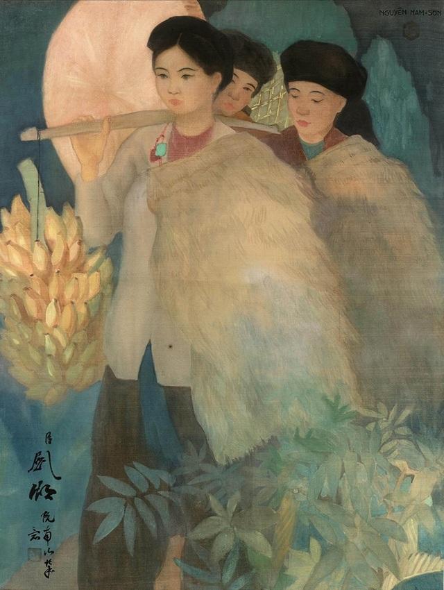 Bức tranh lụa Thôn nữ Bắc kỳ của cố hoạ sĩ Nam Sơn vừa được đấu giá 5,7 tỷ đồng ở Pháp. Ảnh chụp lại.