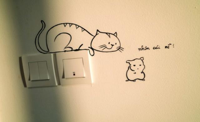 Hiền cũng tự tay vẽ rất nhiều hình ngộ nghĩnh đáng yêu trang trí trên tường nhà