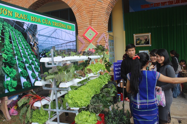 Mô hình vườn rau, hoa trường em của trường PTDT nội trú tỉnh thu hút rất nhiều người tới tham quan. (Trong hình các em đang chia sẻ kinh nghiệm trồng ra những cây rau xanh tốt cho mọi khách tới tham quan)