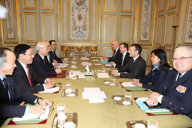 Tổng Bí thư Nguyễn Phú Trọng hội đàm với Tổng thống Cộng hòa Pháp Emmanuel Macron