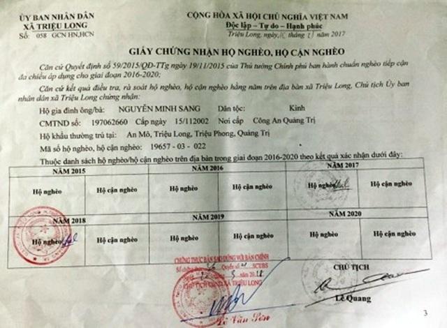 Giấy xác nhận hộ nghèo của UBND xã cấp cho gia đình anh Sang, chị Hảo