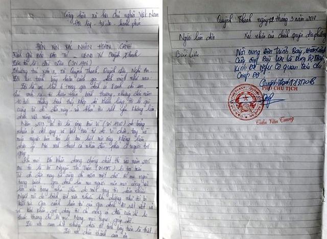 Đơn xác nhận hoàn cảnh khó khăn của chính quyền xã Quỳnh Thanh với gia đình ông Vì.