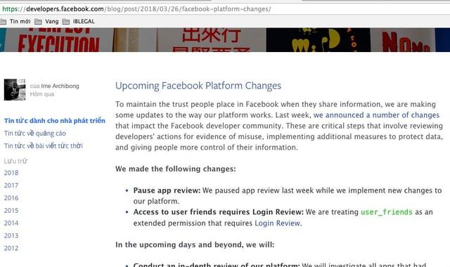 Facebook đồng loạt chặn API các bên thứ 3 sau bê bối dữ liệu người dùng