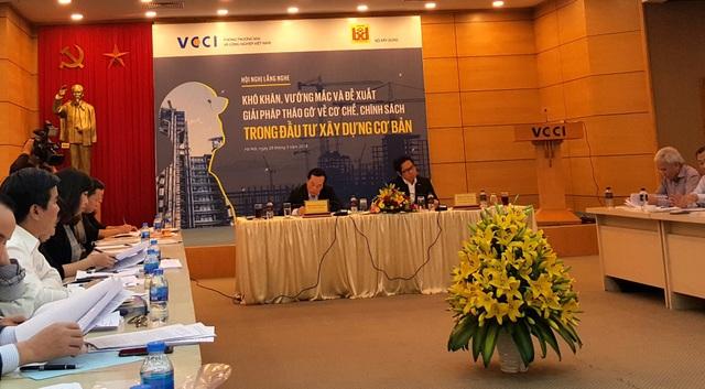 Hội nghị lắng nghe khó khăn, vướng mắc và đề xuất giải pháp tháo gỡ về cơ chế, chính sách trong đầu tư xây dựng cơ bản do Chủ tịch VCCI Vũ Tiến Lộc và Bộ trưởng Xây dựng Phạm Hồng Hà đồng chủ trì.