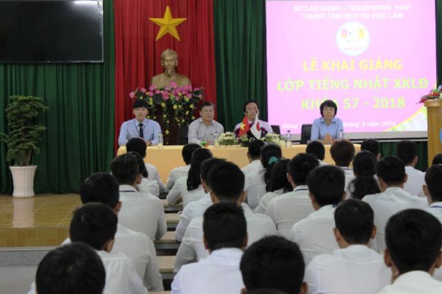 Ngày 12/03 vừa qua, Trung tâm Dịch vụ Việc làm Đồng Tháp tổ chức khai giảng lớp tiếng Nhật đi xuất khẩu lao động K57 với hơn 100 học viên (ảnh: Thụy Nhiễu