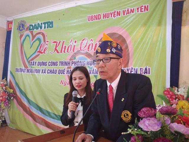 Ông Kondoh Hiroaki, Chủ tịch Nagoya Taiko Lions Club bày tỏ niềm vui mừng khi nhân dịp kỷ niệm 55 năm thành lập tổ chức đã thực hiện được việc đầu tư xây dựng một trường học tại Việt Nam thông qua báo Dân trí