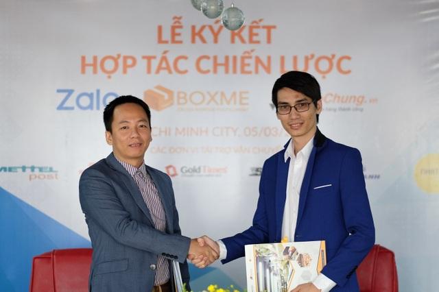 Ông Hán Văn Lợi, Tổng Giám đốc của BoxMe, Shipchung và ông Nguyễn Công Chính, Giám đốc phụ trách Zalo Business tại buổi ký kết hợp tác