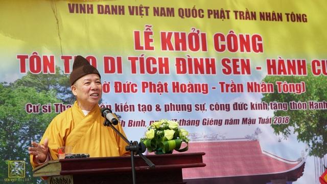Thượng tọa Thích Thanh Quyết phát biểu tại lễ khởi công