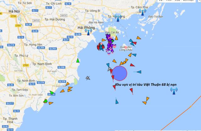 Vị trí khu vực tàu Việt Thuận 68 bị nạn