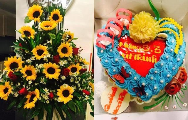 Diễn viên Việt Trinh hạnh phúc khi được người hâm mộ tặng cả hoa lẫn bánh kem.