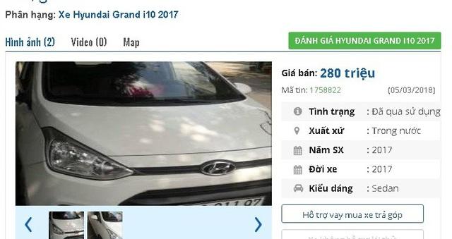 Chiếc Hyundai Grand i10 đời 2017 này đang được chủ nhân rao bán giá 280 triệu đồng. Theo người bán, xe chính chủ nhà sử dụng, được bảo dưỡng, thay nhớt định kỳ đầy đủ, các chức năng theo xe đầy đủ và ổn định.