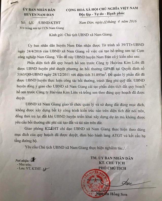 Ngày 28/4/2016, UBND huyện Nam Đàn đồng ý cho xã Nam Giang cải tạo trồng sen .