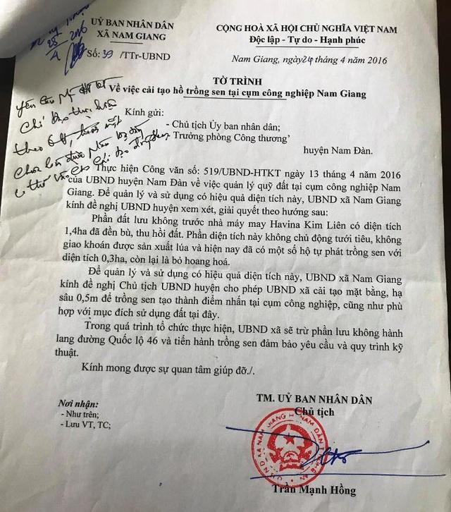 Tờ trình xin cải tạo hồ sen của UBND xã Nam Giang.