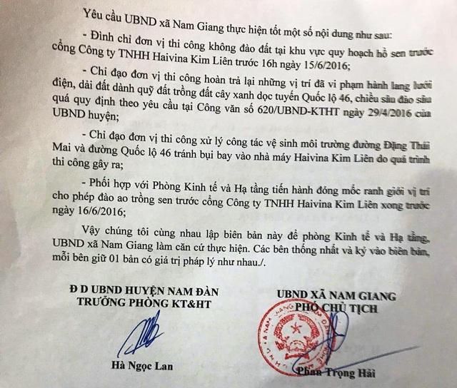Mặc dầu đã được kiểm tra trước đó và giao cho xã Nam Giang chỉ được đào 0,5m. Thế nhưng, trên thực tế họ đã đào quá sâu, với khối lượng đất được múc đi là quá nhiều.