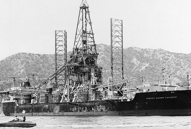 Con tàu Hughes Glomar Explorer mà Mỹ chế tạo để vớt chiếc tàu ngầm đắm của Nga. (Ảnh: Getty Images)