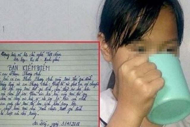 Học sinh bị phạt uống nước giẻ lau bảng. Ảnh: Minh Khang/ VTC