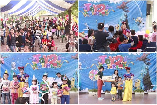 Các con và phụ huynh háo hứng tham gia các hoạt động trên sân khấu như ném bóng, đoán tranh, Quay số trúng thưởng…và chương trình còn tổ chức sinh nhật cho những bé có ngày sinh trong tháng 4 này