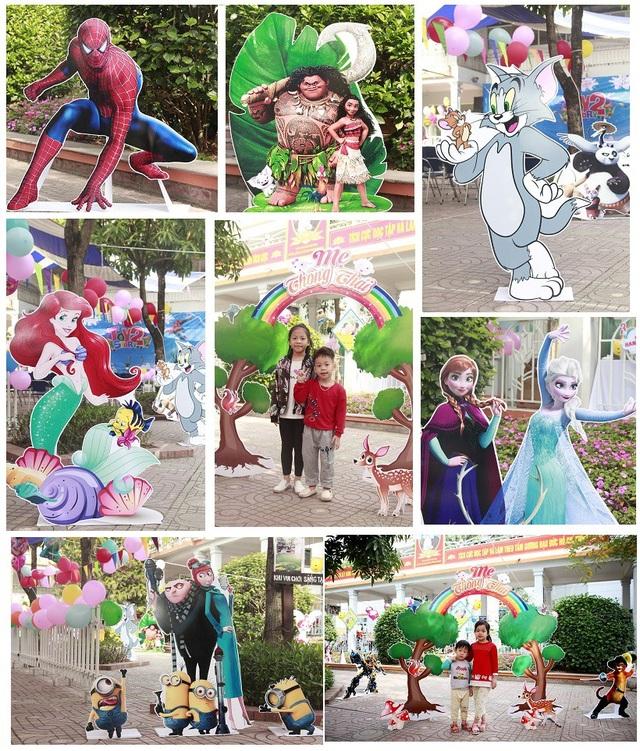 Khu vườn Mẹ Thông Thái cho các con thỏa thích vui chơi cùng các nhân vật hoạt hình: Người nhện, Nàng tiên cá, Minion, Nữ hoàng Elsa, Công chúa Moana, Kungfu Panda, Mèo đia hia, Tom và Jelly,….