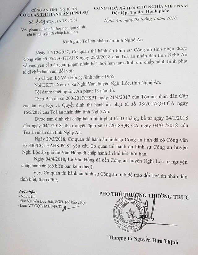 Ngày 5/4/2018, CA tỉnh Nghệ An có quyết định về việc phạm nhân hết thời hạn tạm đình chỉ tự nguyện đi chấp hành án.