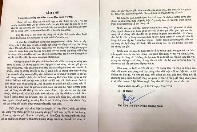 Bức tâm thư của ông Lê Trí Thanh gửi lực lượng kiểm lâm và Ban quản lý rừng.