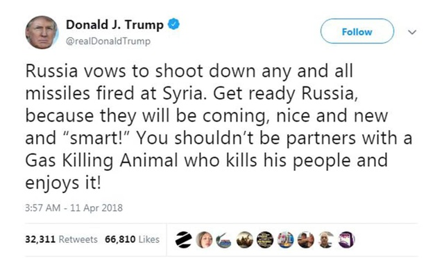 Ông Trump dùng Twitter để cảnh báo Syria sắp phải hứng tên lửa mới, đẹp và thông minh. (Ảnh: Twitter)